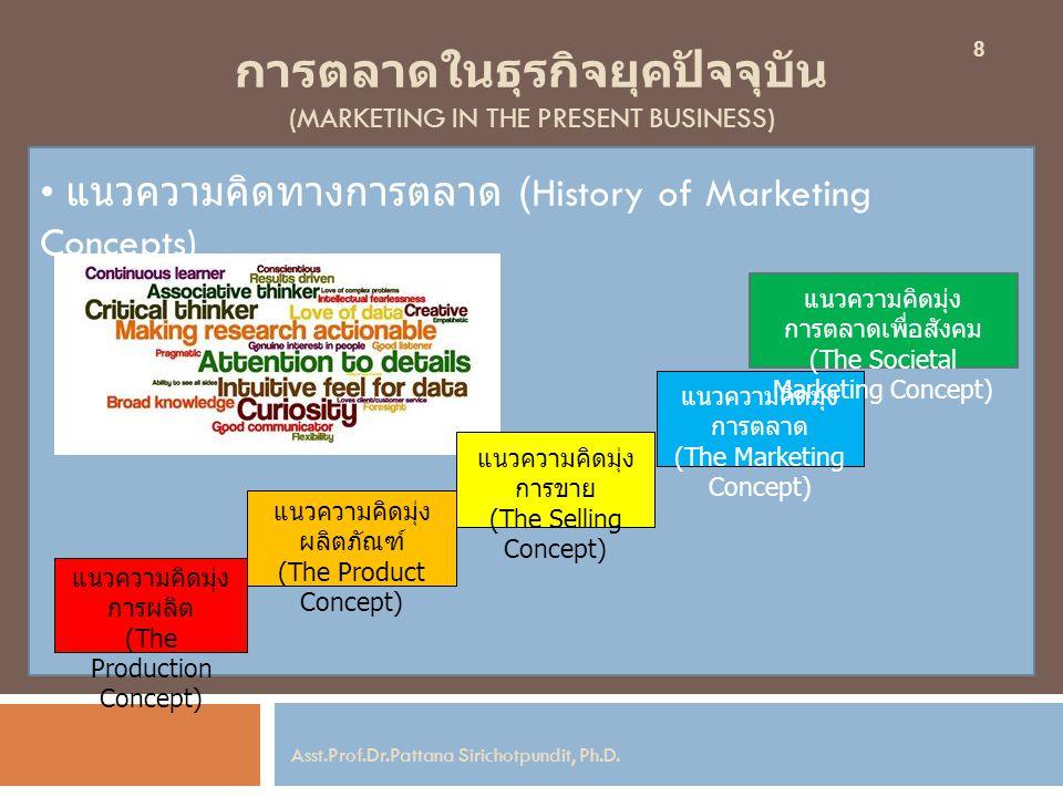 การตลาดในธุรกิจยุคปัจจุบัน (MARKETING IN THE PRESENT BUSINESS) แนวความคิดทางการตลาด (History of Marketing Concepts) 8 Asst.Prof.Dr.Pattana Sirichotpun