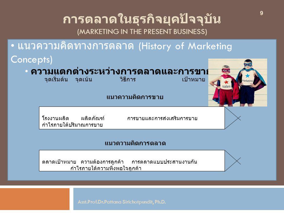 การตลาดในธุรกิจยุคปัจจุบัน (MARKETING IN THE PRESENT BUSINESS) แนวความคิดทางการตลาด (History of Marketing Concepts) ความแตกต่างระหว่างการตลาดและการขาย