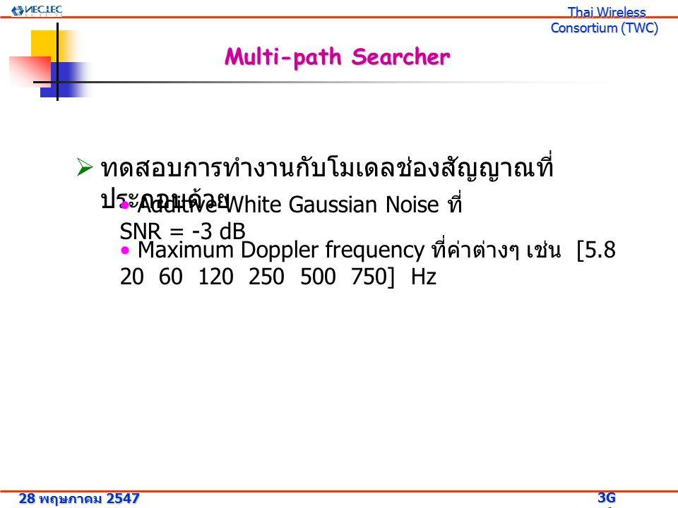 28 พฤษภาคม 2547 3G Research Project 3G Research Project Thai Wireless Consortium (TWC) Thai Wireless Consortium (TWC) Multi-path Searcher  ทดสอบการทำงานกับโมเดลช่องสัญญาณที่ ประกอบด้วย Additive White Gaussian Noise ที่ SNR = -3 dB Maximum Doppler frequency ที่ค่าต่างๆ เช่น [5.8 20 60 120 250 500 750] Hz