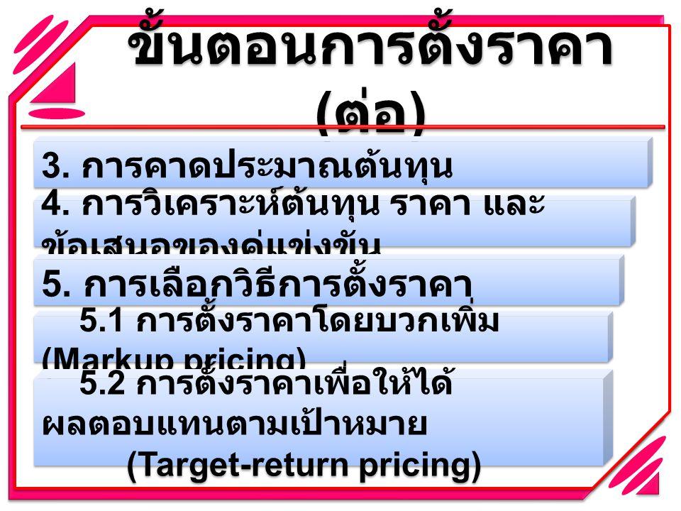 ขั้นตอนการตั้งราคา ( ต่อ ) 3. การคาดประมาณต้นทุน 4. การวิเคราะห์ต้นทุน ราคา และ ข้อเสนอของคู่แข่งขัน 5. การเลือกวิธีการตั้งราคา 5.1 การตั้งราคาโดยบวกเ
