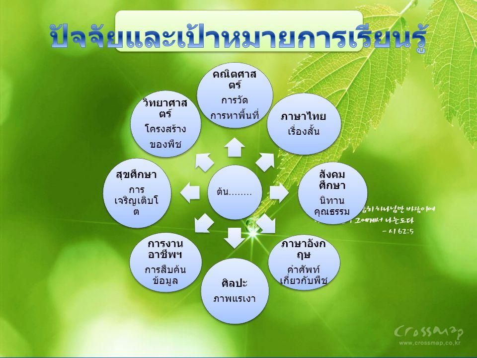 ต้น........ คณิตศาส ตร์ การวัด การหาพื้นที่ ภาษาไทย เรื่องสั้น สังคม ศึกษา นิทาน คุณธรรม ภาษาอังก ฤษ คำศัพท์ เกี่ยวกับพืช ศิลปะ ภาพแรเงา การงาน อาชีพฯ