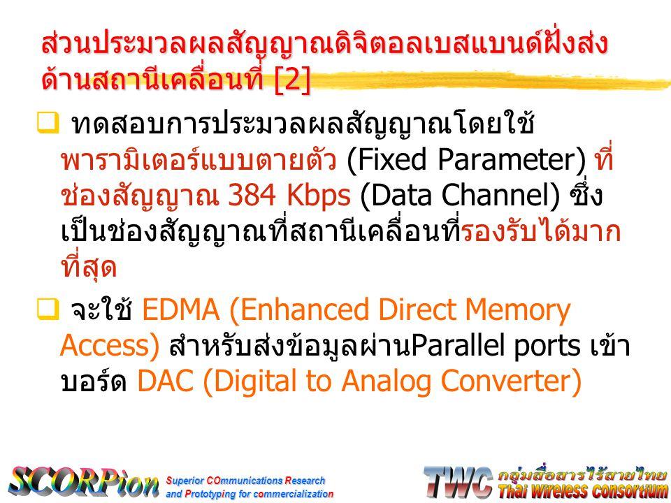 Superior COmmunications Research and Prototyping for commercialization ส่วนประมวลผลสัญญาณดิจิตอลเบสแบนด์ฝั่งส่ง ด้านสถานีเคลื่อนที่ [2]  ทดสอบการประมวลผลสัญญาณโดยใช้ พารามิเตอร์แบบตายตัว (Fixed Parameter) ที่ ช่องสัญญาณ 384 Kbps (Data Channel) ซึ่ง เป็นช่องสัญญาณที่สถานีเคลื่อนที่รองรับได้มาก ที่สุด  จะใช้ EDMA (Enhanced Direct Memory Access) สำหรับส่งข้อมูลผ่าน Parallel ports เข้า บอร์ด DAC (Digital to Analog Converter)