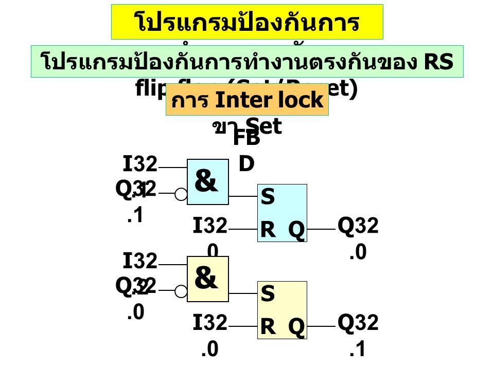 โปรแกรมป้องกันการ ทำงานตรงกัน โปรแกรมป้องกันการทำงานตรงกันของ RS flip flop (Set/Reset) การ Inter lock ขา Set & I32.0 S RQ I32.1 Q32.1 Q32.0 & I32.0 S RQ I32.2 Q32.0 Q32.1 FB D