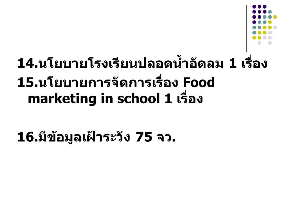 14.นโยบายโรงเรียนปลอดน้ำอัดลม 1 เรื่อง 15.นโยบายการจัดการเรื่อง Food marketing in school 1 เรื่อง 16.มีข้อมูลเฝ้าระวัง 75 จว.