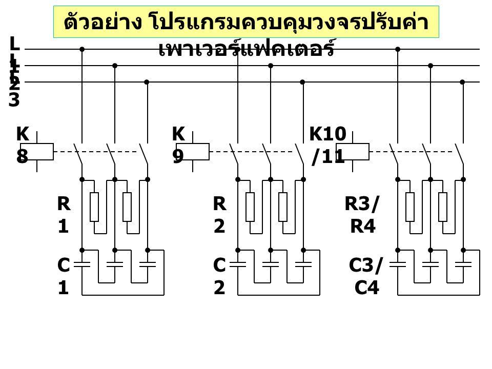 ตัวอย่าง โปรแกรมควบคุมวงจรปรับค่า เพาเวอร์แฟคเตอร์ L1L1 L2L2 L3L3 K8K8 K9K9 K10 /11 R1R1 C1C1 R2R2 C2C2 R3/ R4 C3/ C4