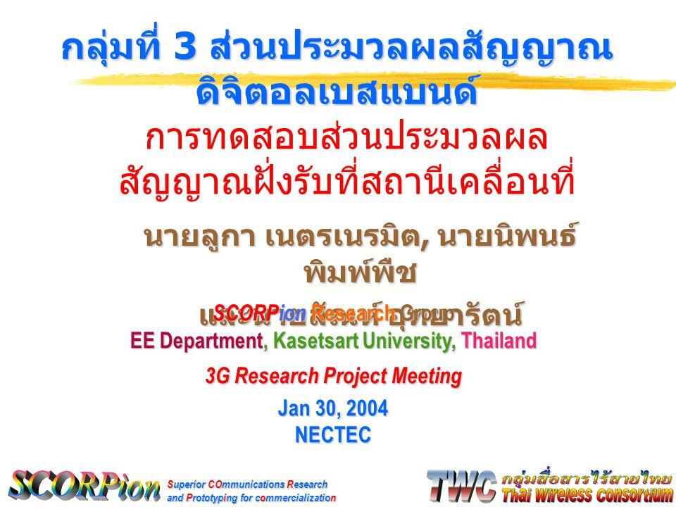 Superior COmmunications Research and Prototyping for commercialization นายลูกา เนตรเนรมิต, นายนิพนธ์ พิมพ์พืช และนายสัณห์ อุทยารัตน์ กลุ่มที่ 3 ส่วนประมวลผลสัญญาณ ดิจิตอลเบสแบนด์ SCORPion Research Group EE Department, Kasetsart University, Thailand 3G Research Project Meeting Jan 30, 2004 NECTEC การทดสอบส่วนประมวลผล สัญญาณฝั่งรับที่สถานีเคลื่อนที่