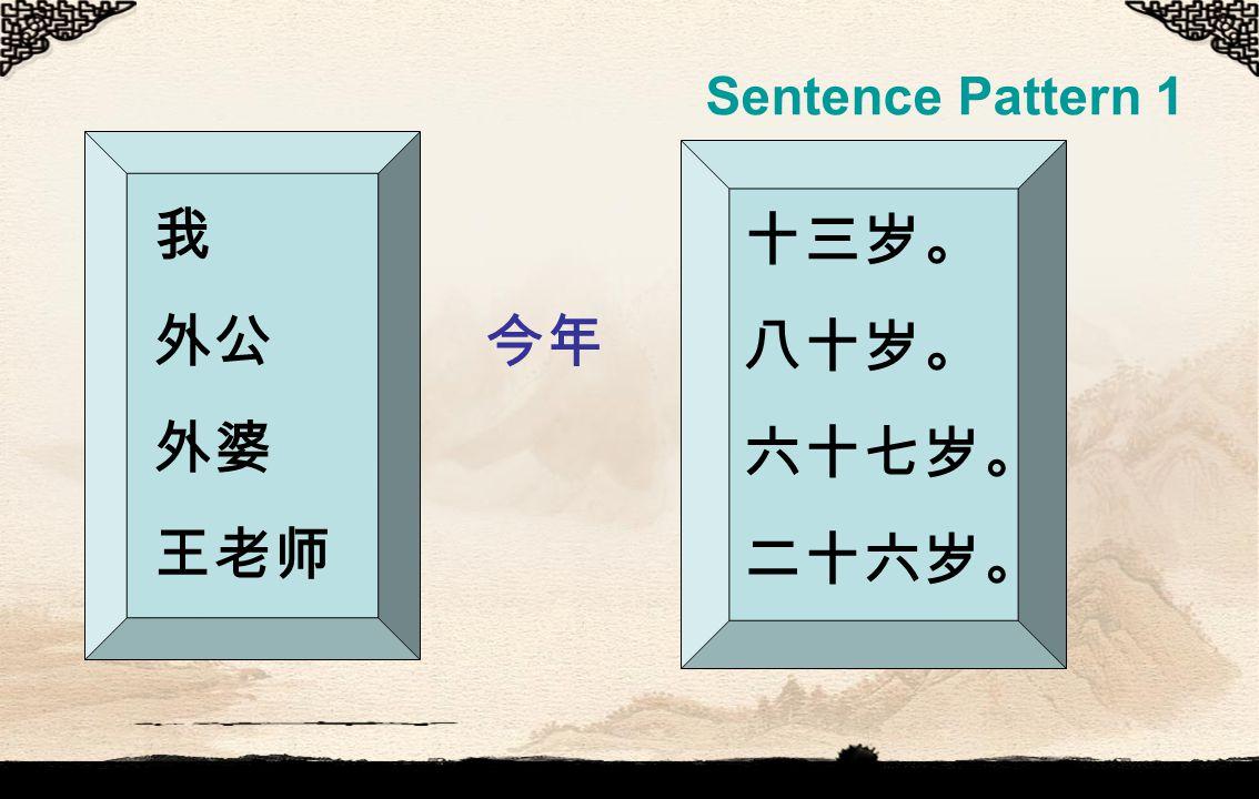 Sentence Pattern 1 我 外公 今年 外婆 王老师 十三岁。 八十岁。 六十七岁。 二十六岁。
