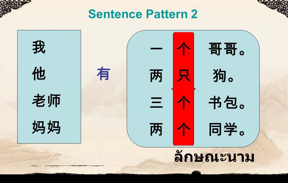 Sentence Pattern 2 我 他 有 老师 妈妈 一 个 哥哥。 两 只 狗。 三 个 书包。 两 个 同学。 ลักษณะนาม