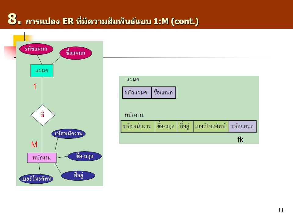 11 8. การแปลง ER ที่มีความสัมพันธ์แบบ 1:M (cont.) 8. การแปลง ER ที่มีความสัมพันธ์แบบ 1:M (cont.)