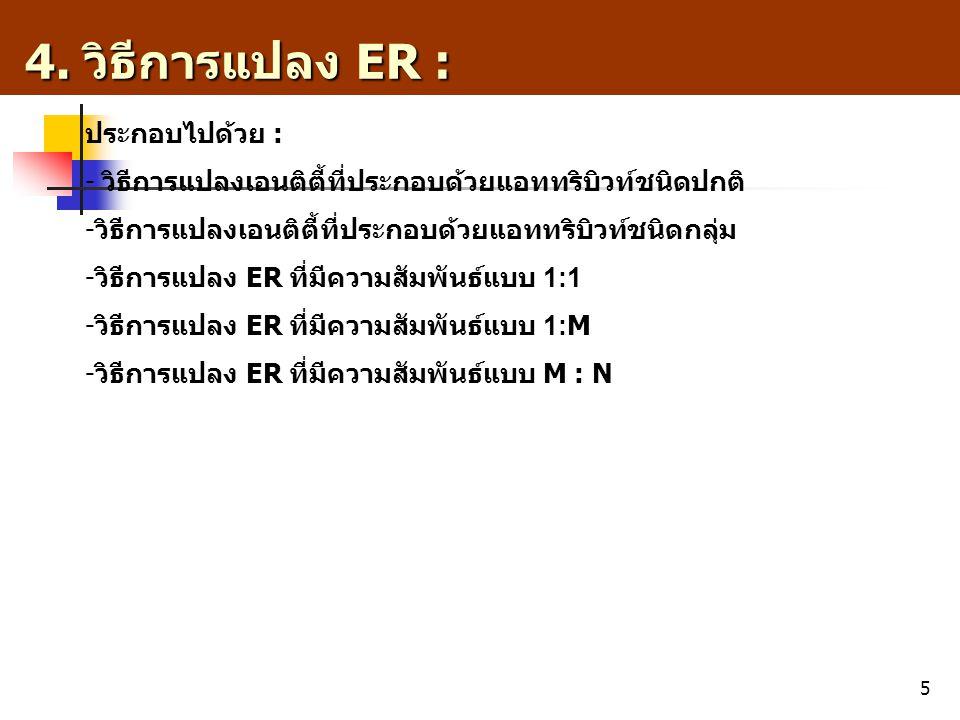 5 4. วิธีการแปลง ER : 4. วิธีการแปลง ER : ประกอบไปด้วย : - วิธีการแปลงเอนติตี้ที่ประกอบด้วยแอททริบิวท์ชนิดปกติ - วิธีการแปลงเอนติตี้ที่ประกอบด้วยแอททร