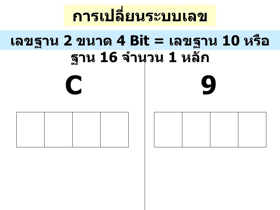 การเปลี่ยนระบบเลข ฐาน เลขฐาน 2 ขนาด 4 Bit = เลขฐาน 10 หรือ ฐาน 16 จำนวน 1 หลัก 9C