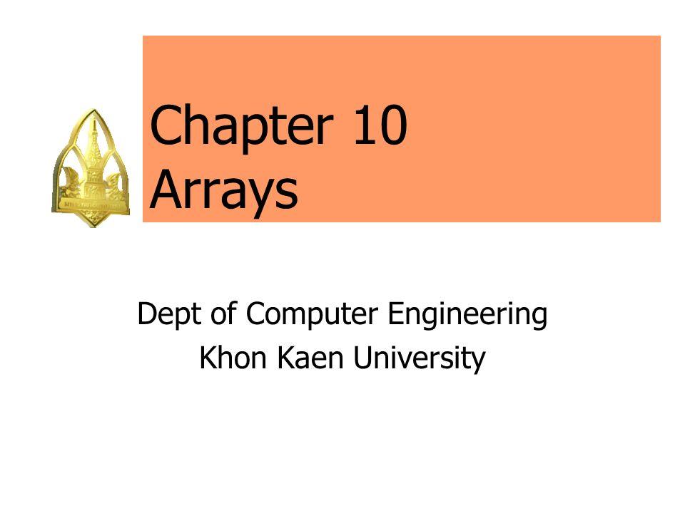 178110: Computer Programming (II/2546) 62 Array a in Example 16 การกำหนดค่าเริ่มแรกให้กับแอร์เรย์ที่ประกอบด้วยแอร์ เรย์ที่มีแอร์เรย์ขนาดเท่ากับ 2 ของแอร์เรย์ขนาด 4 ของแอร์เรย์ขนาด 3 ทำให้จำนวนสมาชิกทั้งหมดที่ได้ เป็น 24 ตัว เราสามารถกำหนดค่าเริ่มแรกของแอร์เรย์ได้อีกวิธีคือ int a[2] [4] [3] = { 5, 0, 2, 0, 0, 9, 4, 1, 0, 7, 7, 7, 3, 0, 0, 8, 5, 0, 0, 0, 0, 2, 0, 9 }; หรือ int a[2] [4] [3] = { { 5, 0, 2, 0, 0, 4, 4, 1, 0, 7, 7, 7, }, { 3, 0, 0, 8, 5, 0, 0, 0, 0, 2, 0, 9 } }; แต่จะดูยุ่งยากกว่าการกำหนดค่าเริ่มแรกให้เป็นลักษณะสาม มิติดังในตัวอย่าง Example 16 ซึ่งใช้ลูปซ้อน 3 ระดับใน การประมวลผลอาร์เรย์ 3 มิติ