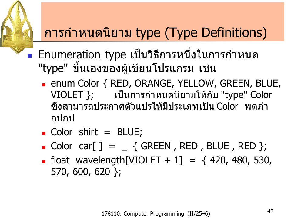 178110: Computer Programming (II/2546) 42 การกำหนดนิยาม type (Type Definitions) Enumeration type เป็นวิธีการหนึ่งในการกำหนด type ขึ้นเองของผู้เขียนโปรแกรม เช่น enum Color { RED, ORANGE, YELLOW, GREEN, BLUE, VIOLET }; เป็นการกำหนดนิยามให้กับ type Color ซึ่งสามารถประกาศตัวแปรให้มีประเภทเป็น Color พดภำ กปกป Color shirt = BLUE; Color car[ ] = _ { GREEN, RED, BLUE, RED }; float wavelength[VIOLET + 1] = { 420, 480, 530, 570, 600, 620 };
