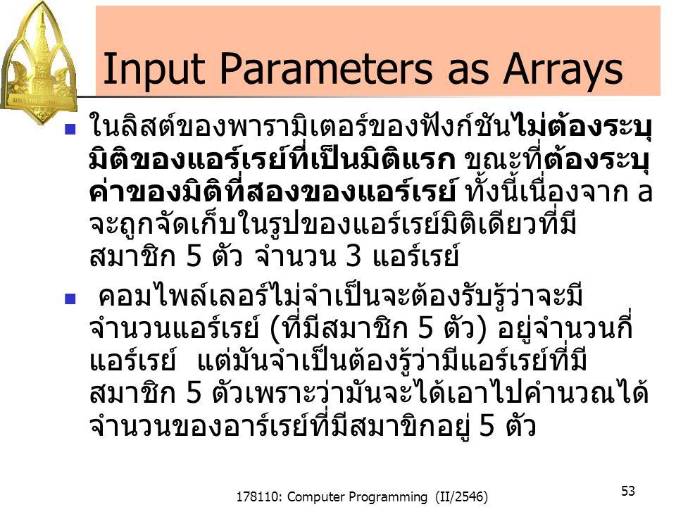 178110: Computer Programming (II/2546) 53 Input Parameters as Arrays ในลิสต์ของพารามิเตอร์ของฟังก์ชันไม่ต้องระบุ มิติของแอร์เรย์ที่เป็นมิติแรก ขณะที่ต้องระบุ ค่าของมิติที่สองของแอร์เรย์ ทั้งนี้เนื่องจาก a จะถูกจัดเก็บในรูปของแอร์เรย์มิติเดียวที่มี สมาชิก 5 ตัว จำนวน 3 แอร์เรย์ คอมไพล์เลอร์ไม่จำเป็นจะต้องรับรู้ว่าจะมี จำนวนแอร์เรย์ (ที่มีสมาชิก 5 ตัว) อยู่จำนวนกี่ แอร์เรย์ แต่มันจำเป็นต้องรู้ว่ามีแอร์เรย์ที่มี สมาชิก 5 ตัวเพราะว่ามันจะได้เอาไปคำนวณได้ จำนวนของอาร์เรย์ที่มีสมาขิกอยู่ 5 ตัว