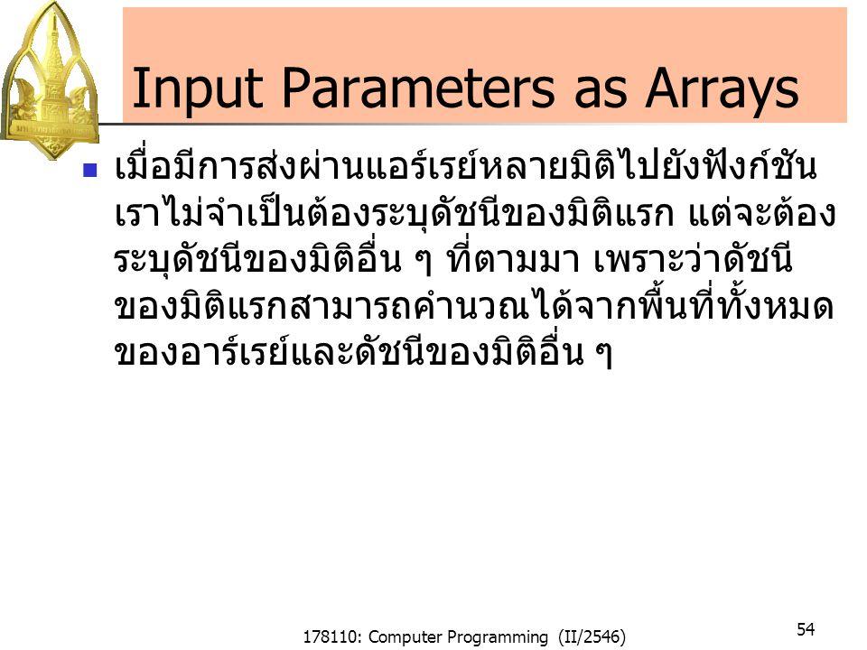 178110: Computer Programming (II/2546) 54 Input Parameters as Arrays เมื่อมีการส่งผ่านแอร์เรย์หลายมิติไปยังฟังก์ชัน เราไม่จำเป็นต้องระบุดัชนีของมิติแรก แต่จะต้อง ระบุดัชนีของมิติอื่น ๆ ที่ตามมา เพราะว่าดัชนี ของมิติแรกสามารถคำนวณได้จากพื้นที่ทั้งหมด ของอาร์เรย์และดัชนีของมิติอื่น ๆ