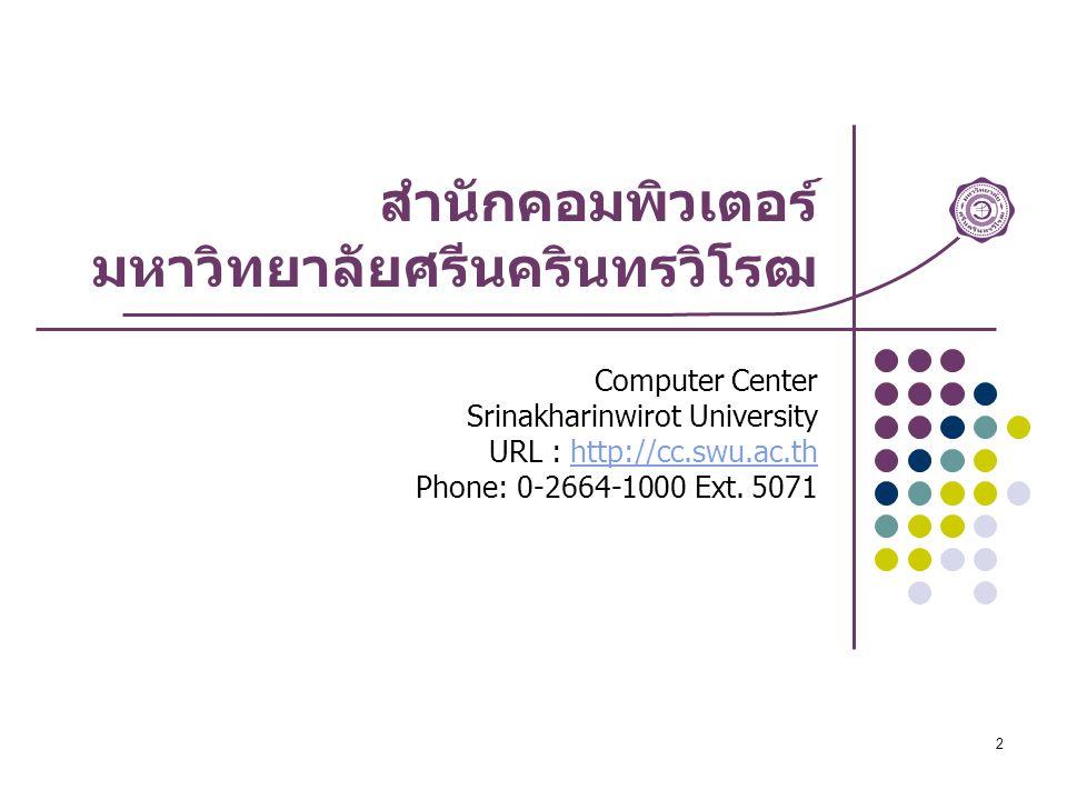 2 สำนักคอมพิวเตอร์ มหาวิทยาลัยศรีนครินทรวิโรฒ Computer Center Srinakharinwirot University URL : http://cc.swu.ac.thhttp://cc.swu.ac.th Phone: 0-2664-1000 Ext.