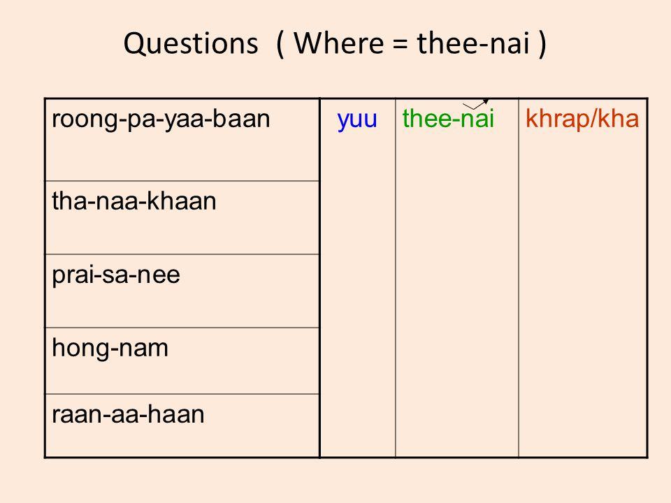 Questions ( Where = thee-nai ) roong-pa-yaa-baan tha-naa-khaan prai-sa-nee hong-nam raan-aa-haan yuuthee-naikhrap/kha
