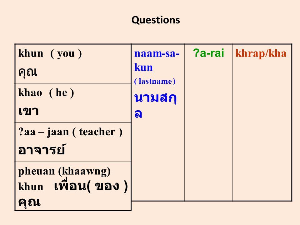 Questions khun ( you ) คุณ khao ( he ) เขา aa – jaan ( teacher ) อาจารย์ pheuan (khaawng) khun เพื่อน ( ของ ) คุณ naam-sa- kun ( lastname ) นามสกุ ล a-rai khrap/kha