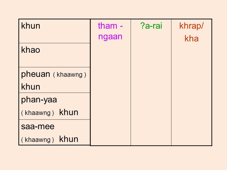 khun khao pheuan ( khaawng ) khun phan-yaa ( khaawng ) khun saa-mee ( khaawng ) khun tham - ngaan a-raikhrap/ kha