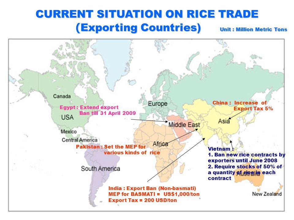 5 CURRENT SITUATION ON RICE TRADE (Importing Country) Unit : Million Metric Tons (Importing Country) Unit : Million Metric Tons Philippines :2.1 Bangladesh : 1.0 Iraq : 1.1 Indonesia : 0.5 Iran: 0.9 Nigeria: 1.5 Japan : 0.7 China: 0.6 Malaysia : 0.5 USA : 0.7 S.Africa : 0.9 EU 27 : 1.1 Senegal : 0.7 Saudi Arabia : 0.7 Sri Lanka : 0.05 Gambia : 0.12