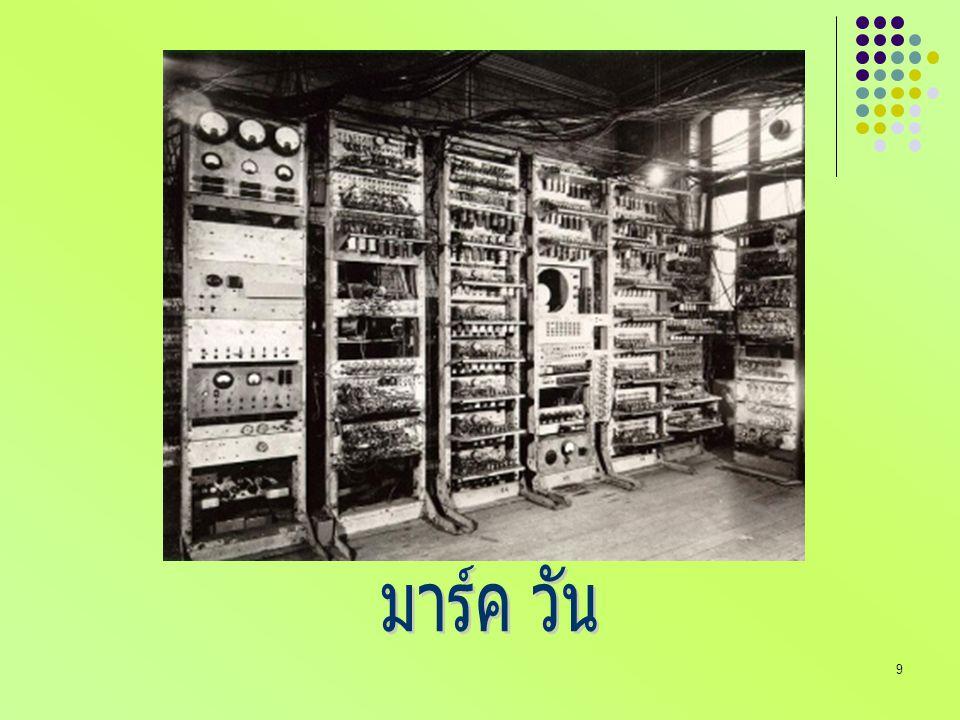 20 คอมพิวเตอร์ยุค VLSI สร้างวงจรรวมที่มีขนาดใหญ่มาวาง บนแผ่นซิลิคอนที่มีขนาดเล็ก เรียกว่า วงจรวีแอลเอสไอ (Very Large Integrated Circuit : IC) วงจรวีแอลเอสไอ เป็นวงจรรวมที่ นำทรานซิสเตอร์จำนวนล้านตัวมา รวมในแผ่นซิลิกอนขนาดเล็ก และ ผลิตมาเป็นหน่วยประมวลผลของ คอมพิวเตอร์ที่ซับซ้อนเรียกว่า ไม โครโพรเซสเซอร์ (microprocessor)