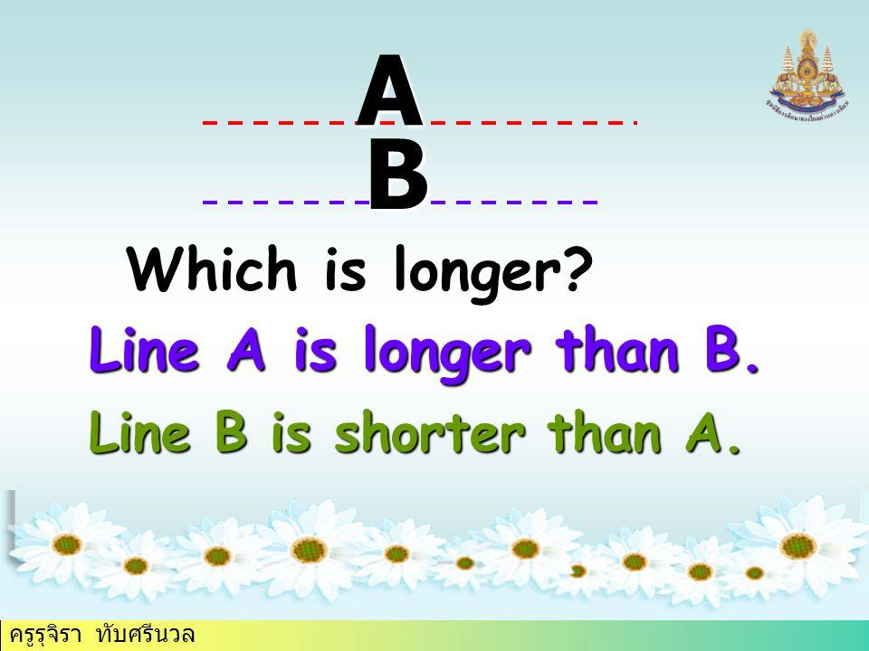 ครูรุจิรา ทับศรีนวล Which is longer A B Line A is longer than B. Line B is shorter than A.
