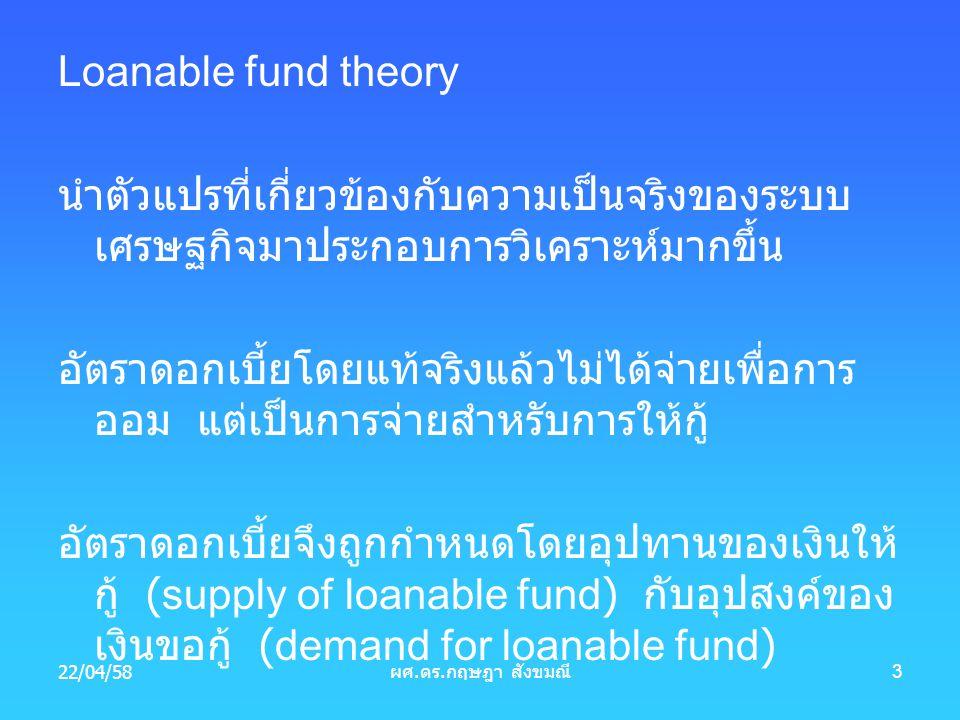 Loanable fund theory นำตัวแปรที่เกี่ยวข้องกับความเป็นจริงของระบบ เศรษฐกิจมาประกอบการวิเคราะห์มากขึ้น อัตราดอกเบี้ยโดยแท้จริงแล้วไม่ได้จ่ายเพื่อการ ออม