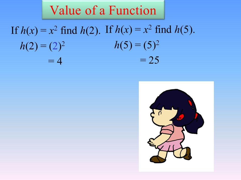 Value of a Function If h(x) = x 2 find h(2). h(2) = (2) 2 = 4 If h(x) = x 2 find h(5).