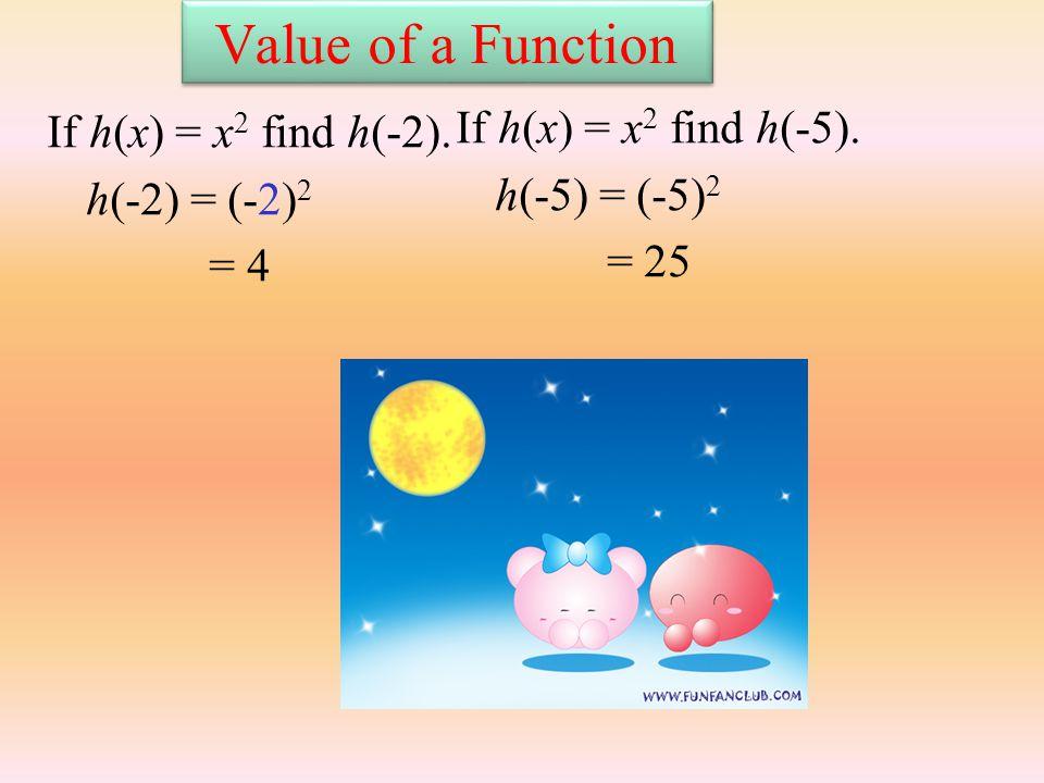 Value of a Function If h(x) = x 2 find h(-2). h(-2) = (-2) 2 = 4 If h(x) = x 2 find h(-5).