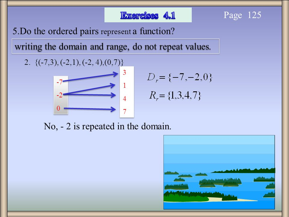 5.Do the ordered pairs represent a function? Page 125 writing the domain and range, do not repeat values. 2. {(-7,3), (-2,1), (-2, 4),(0,7)} -7 -2 0 -