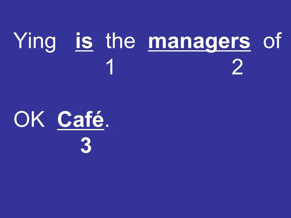 Ying is the managers of 1 2 OK Café. 3
