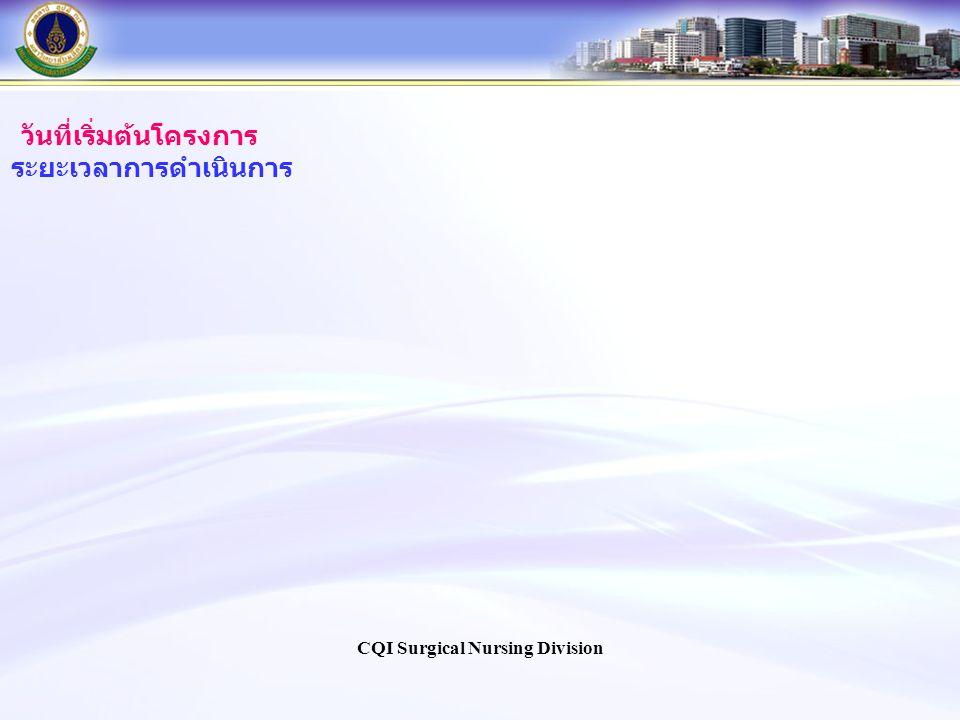 วันที่เริ่มต้นโครงการ ระยะเวลาการดำเนินการ CQI Surgical Nursing Division