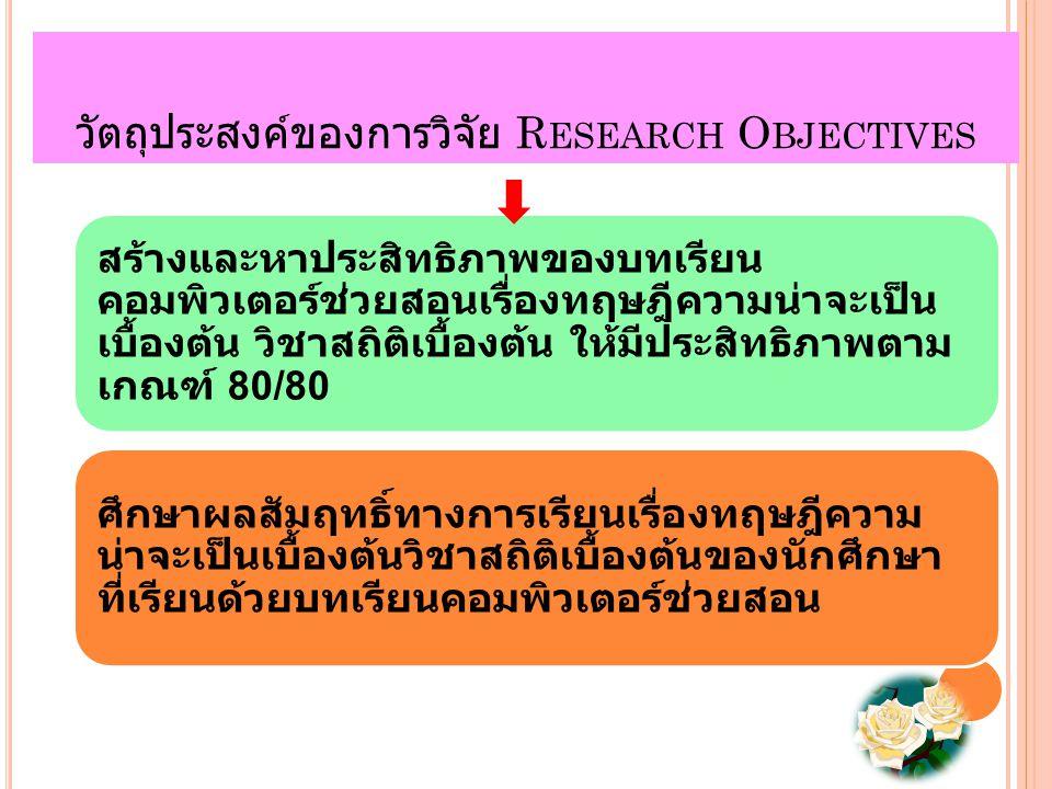วัตถุประสงค์ของการวิจัย R ESEARCH O BJECTIVES สร้างและหาประสิทธิภาพของบทเรียน คอมพิวเตอร์ช่วยสอนเรื่องทฤษฎีความน่าจะเป็น เบื้องต้น วิชาสถิติเบื้องต้น ให้มีประสิทธิภาพตาม เกณฑ์ 80/80 ศึกษาผลสัมฤทธิ์ทางการเรียนเรื่องทฤษฎีความ น่าจะเป็นเบื้องต้นวิชาสถิติเบื้องต้นของนักศึกษา ที่เรียนด้วยบทเรียนคอมพิวเตอร์ช่วยสอน