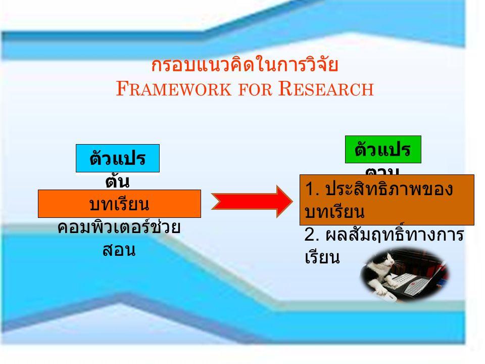สมมติฐานการวิจัย Research Hypotheses บทเรียนคอมพิวเตอร์ช่วยสอนเรื่องทฤษฎีความน่าจะเป็น เบื้องต้น วิชาสถิติเบื้องต้นที่สร้างขึ้นมี ประสิทธิภาพตามเกณฑ์ 80/80 ผลสัมฤทธิ์ทางการเรียนวิชาสถิติเบื้องต้น เรื่องทฤษฎี ความน่าจะเป็นเบื้องต้นของนักศึกษาหลังเรียนด้วย บทเรียนคอมพิวเตอร์ช่วยสอนสูงกว่าก่อนเรียนด้วย บทเรียนคอมพิวเตอร์ช่วยสอน ประชากร (Population) ประชากรที่ใช้ในการวิจัยครั้งนี้ คือนักศึกษาระดับประกาศนียบัตรวิชาชีพชั้นสูงวิทยาลัย เทคโนโลยีภูเก็ตเรียนวิชาสถิติเบื้องต้นในภาคเรียนที่ 2 ปี การศึกษา 2554 จำนวน 885 คน (17 กลุ่ม ) กลุ่มตัวอย่าง ได้จากการสุ่มตัวอย่างแบบเจาะจงเป็น นักศึกษาระดับประกาศนียบัตรวิชาชีพชั้นสูง ( ปวส.) ที่ เรียนวิชาสถิติเบื้องต้นและเรื่องความน่าจะเป็น จำนวน 51 คน