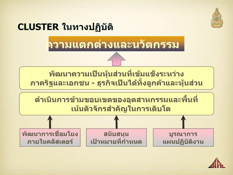 ความได้เปรียบในเชิงการแข่งขันและส่งผลดี ให้กับการพัฒนาเศรษฐกิจของประเทศไทยอย่างยั่งยืน CLUSTERS กระบวนการในการพัฒนาการรวมกลุ่มธุรกิจ Cluster Development Process การที่หน่วยงานทั้งภาครัฐและเอกชน มีความรู้ความเข้าใจ ในกระบวนการพัฒนาคลัสเตอร์ ที่ถูกต้องตรงกันเป็นสิ่งจำเป็นอย่างยิ่ง CLUSTER ไม่ใช่สิ่งที่ใครจะสร้างขึ้นมาก็ได้ เนื่องจาก CLUSTER เป็นกระบวนการของการมีส่วนร่วมของทุกภาคส่วน โดยเฉพาะกลุ่มวิสาหกิจใน value chain