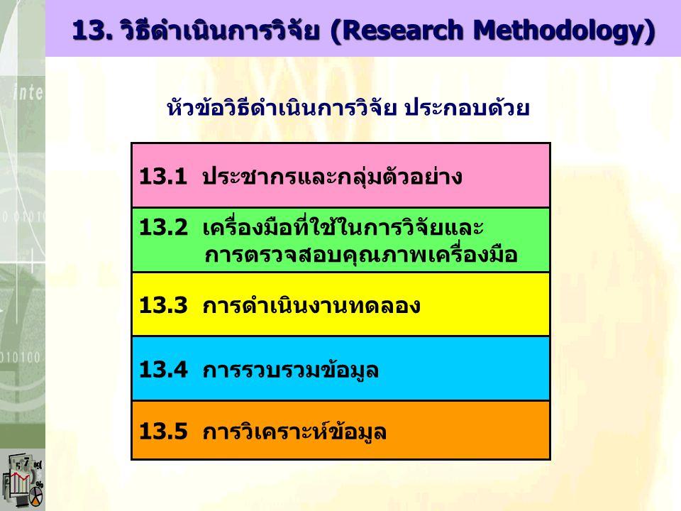13. วิธีดำเนินการวิจัย (Research Methodology) หัวข้อวิธีดำเนินการวิจัย ประกอบด้วย 13.1 ประชากรและกลุ่มตัวอย่าง 13.2 เครื่องมือที่ใช้ในการวิจัยและ การต
