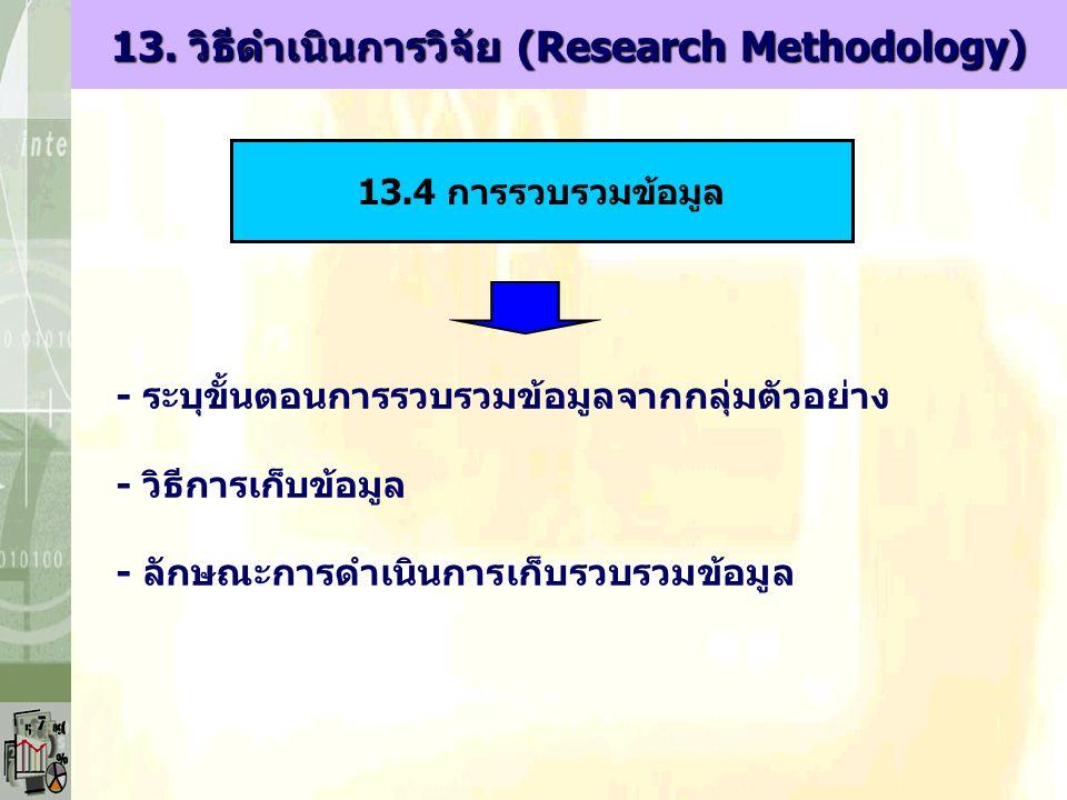 - ระบุขั้นตอนการรวบรวมข้อมูลจากกลุ่มตัวอย่าง - วิธีการเก็บข้อมูล - ลักษณะการดำเนินการเก็บรวบรวมข้อมูล 13.4 การรวบรวมข้อมูล 13. วิธีดำเนินการวิจัย (Res
