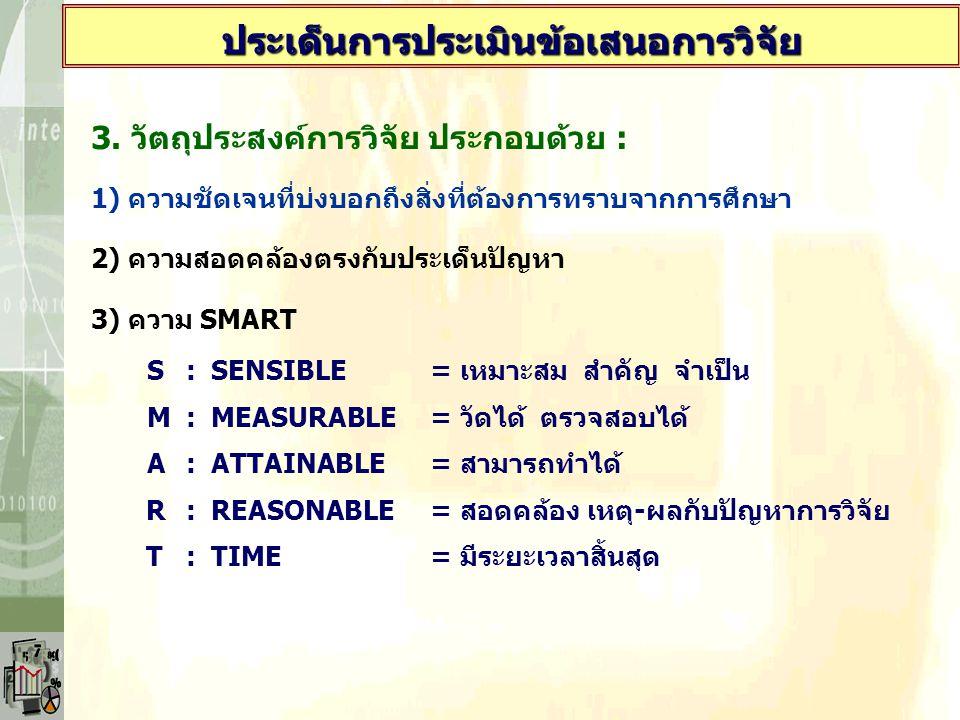 3. วัตถุประสงค์การวิจัย ประกอบด้วย : 1) ความชัดเจนที่บ่งบอกถึงสิ่งที่ต้องการทราบจากการศึกษา 2) ความสอดคล้องตรงกับประเด็นปัญหา 3) ความ SMART S: SENSIBL
