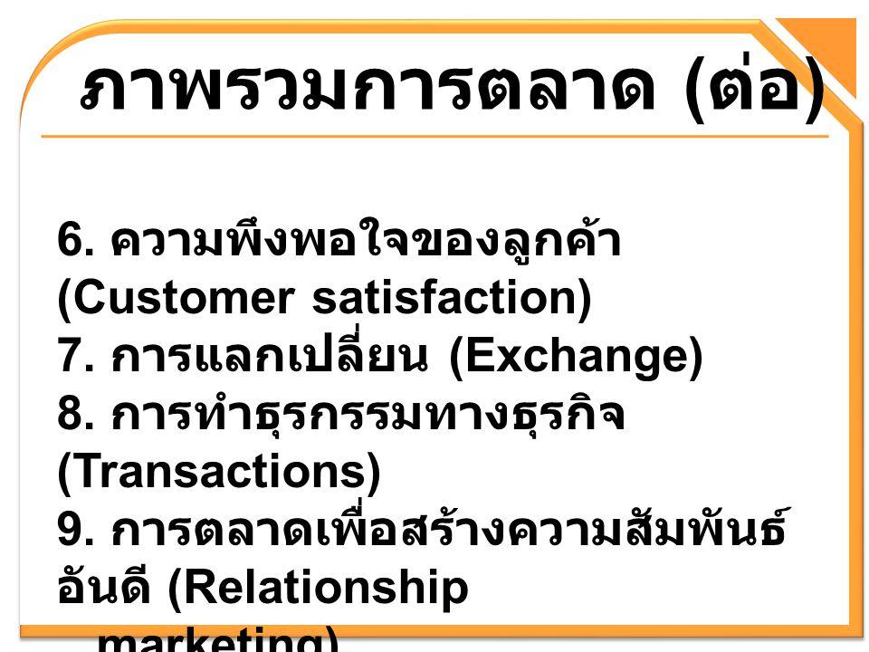 ภาพรวมการตลาด ( ต่อ ) 6. ความพึงพอใจของลูกค้า (Customer satisfaction) 7. การแลกเปลี่ยน (Exchange) 8. การทำธุรกรรมทางธุรกิจ (Transactions) 9. การตลาดเพ