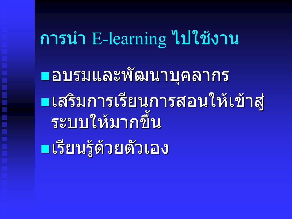 การนำ E-learning ไปใช้งาน อบรมและพัฒนาบุคลากร อบรมและพัฒนาบุคลากร เสริมการเรียนการสอนให้เข้าสู่ ระบบให้มากขึ้น เสริมการเรียนการสอนให้เข้าสู่ ระบบให้มากขึ้น เรียนรู้ด้วยตัวเอง เรียนรู้ด้วยตัวเอง