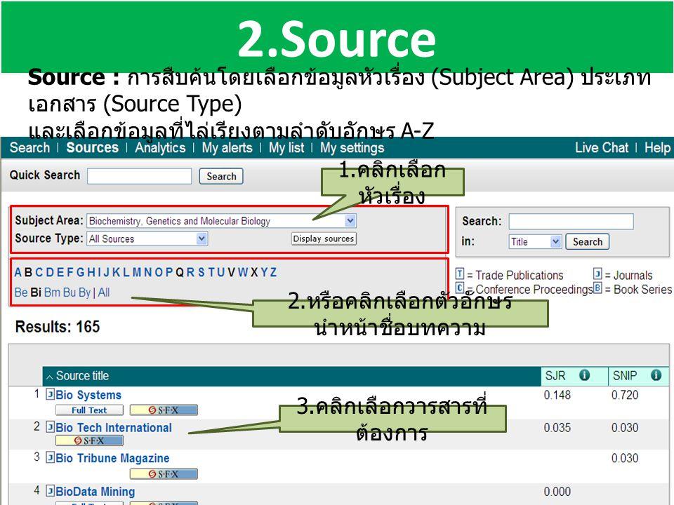 2.Source Source : การสืบค้นโดยเลือกข้อมูลหัวเรื่อง (Subject Area) ประเภท เอกสาร (Source Type) และเลือกข้อมูลที่ไล่เรียงตามลำดับอักษร A-Z 3. คลิกเลือกว