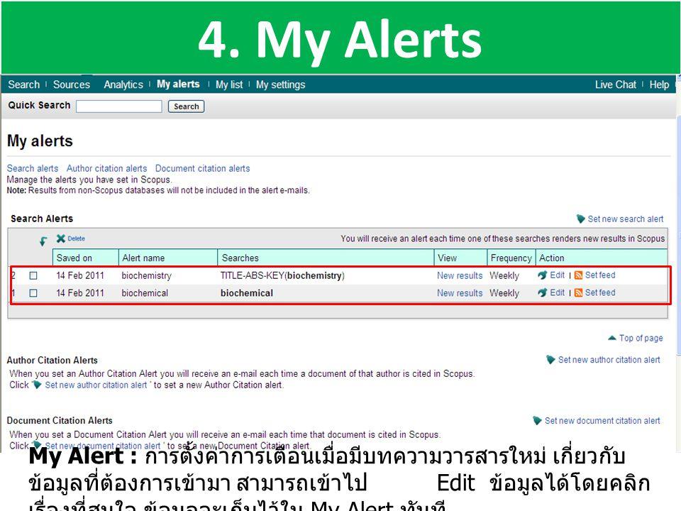 4. My Alerts My Alert : การตั้งค่าการเตือนเมื่อมีบทความวารสารใหม่ เกี่ยวกับ ข้อมูลที่ต้องการเข้ามา สามารถเข้าไป Edit ข้อมูลได้โดยคลิก เรื่องที่สนใจ ข้