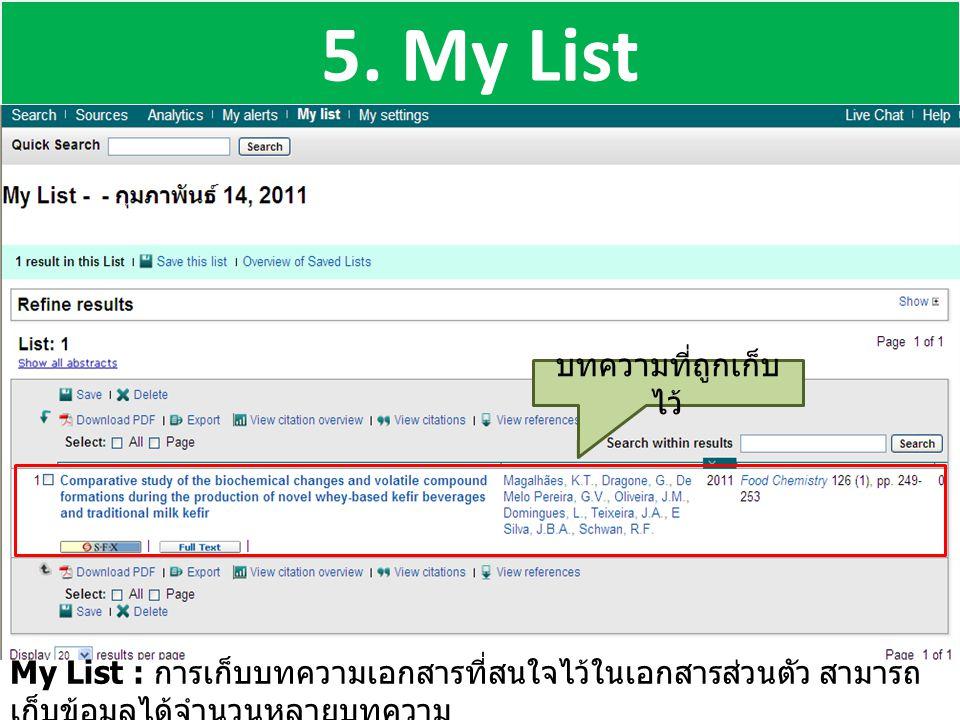 5. My List My List : การเก็บบทความเอกสารที่สนใจไว้ในเอกสารส่วนตัว สามารถ เก็บข้อมูลได้จำนวนหลายบทความ บทความที่ถูกเก็บ ไว้