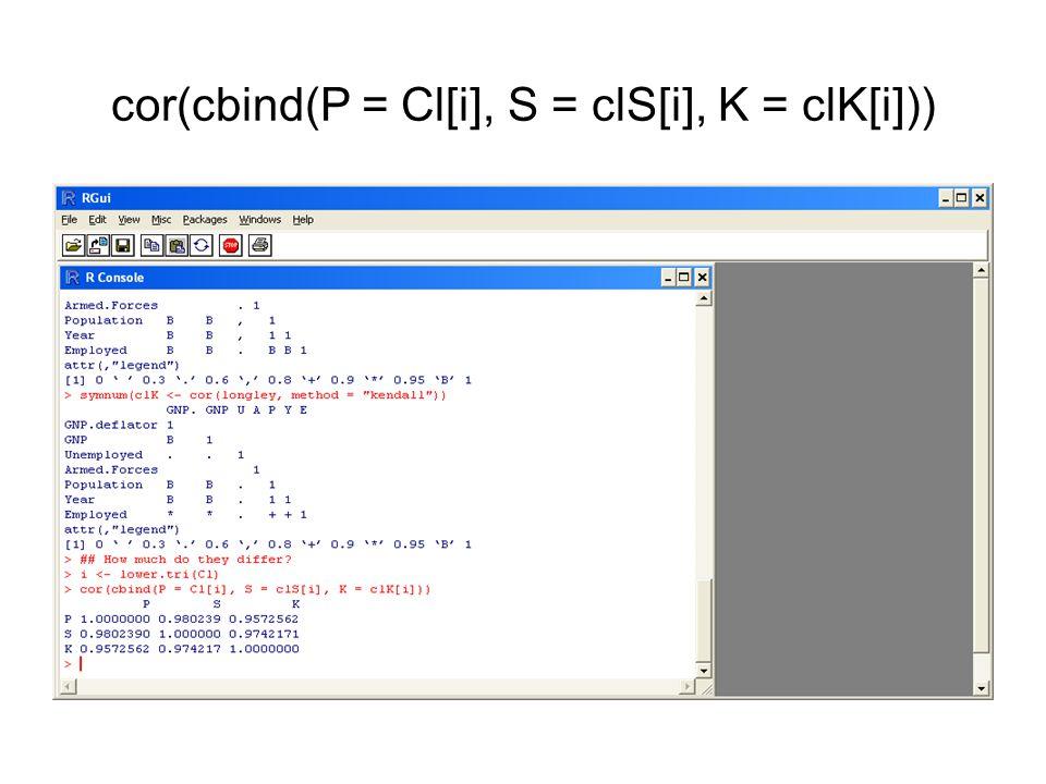 cor(cbind(P = Cl[i], S = clS[i], K = clK[i]))
