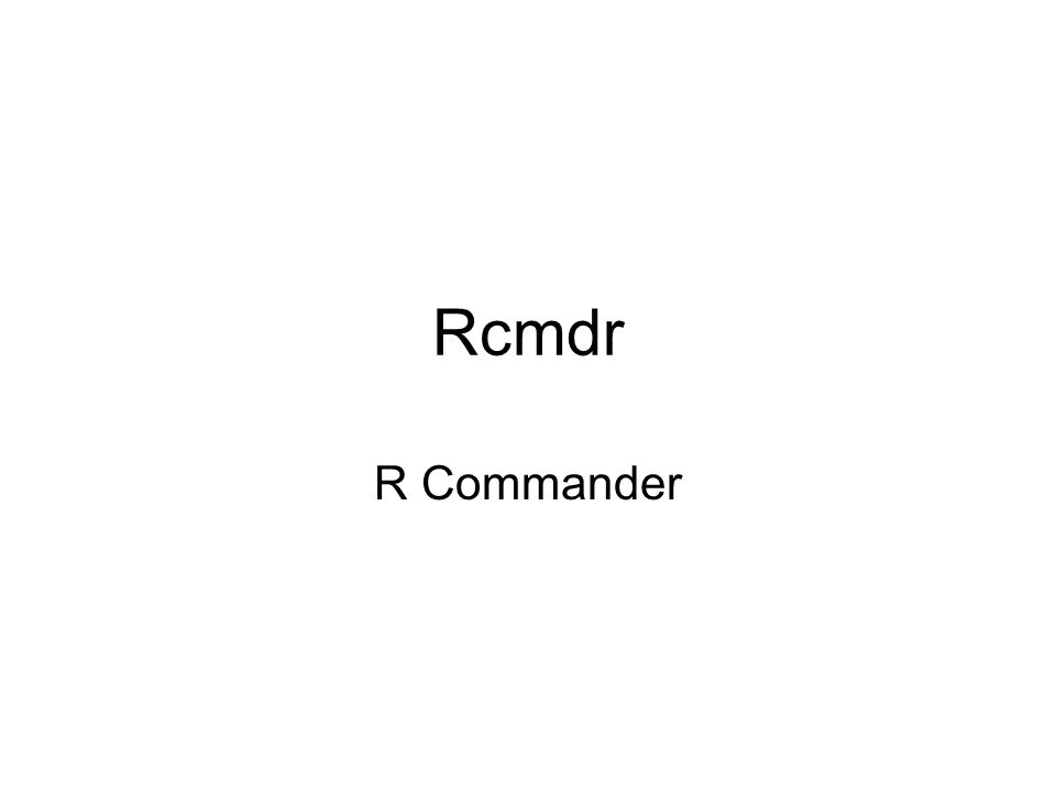 Rcmdr R Commander