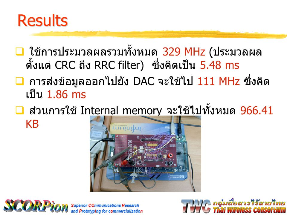 Superior COmmunications Research and Prototyping for commercialization Results [2]