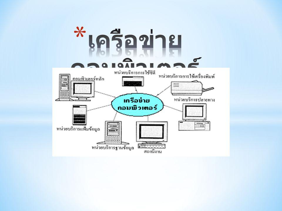 * เครือข่ายคืออะไร * เครือข่าย หรือที่มักเรียกติดปากว่า เน็ตเวิร์ก (network) ก็คือ กลุ่มของ คอมพิวเตอร์หรืออุปกรณ์สื่อสารชนิดต่าง ๆ ที่นำมาเชื่อมต่อกันเพื่อให้ผู้ใช้ในเครือข่าย สามารถติดต่อสื่อสาร แลกเปลี่ยนข้อมูล และใช้อุปกรณ์ต่าง ๆ ร่วมกันในเครือข่ายได้ ตัวอย่างของเครือข่ายที่เราคุ้นเคย ได้แก่ เครือข่ายของโทรศัพท์ เครือข่ายดาวเทียม เครือข่ายวิทยุ หรือเครือข่ายคอมพิวเตอร์ โดยช่องทางที่ใช้ในการติดต่อสื่อสารกัน เรียกว่า ช่องสัญญาณ (communication channel)