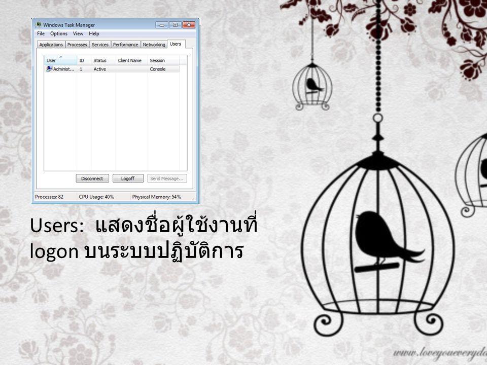 Users: แสดงชื่อผู้ใช้งานที่ logon บนระบบปฏิบัติการ