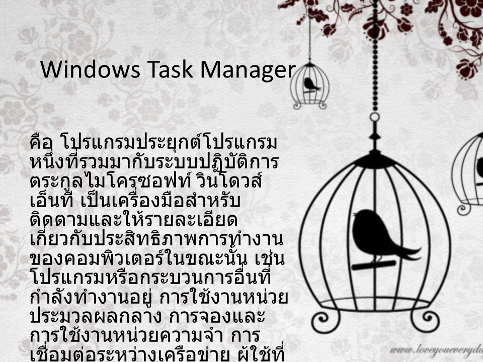 Windows Task Manager คือ โปรแกรมประยุกต์โปรแกรม หนึ่งที่รวมมากับระบบปฏิบัติการ ตระกูลไมโครซอฟท์ วินโดวส์ เอ็นที เป็นเครื่องมือสำหรับ ติดตามและให้รายละเอียด เกี่ยวกับประสิทธิภาพการทำงาน ของคอมพิวเตอร์ในขณะนั้น เช่น โปรแกรมหรือกระบวนการอื่นที่ กำลังทำงานอยู่ การใช้งานหน่วย ประมวลผลกลาง การจองและ การใช้งานหน่วยความจำ การ เชื่อมต่อระหว่างเครือข่าย ผู้ใช้ที่ ล็อกอิน เป็นต้น