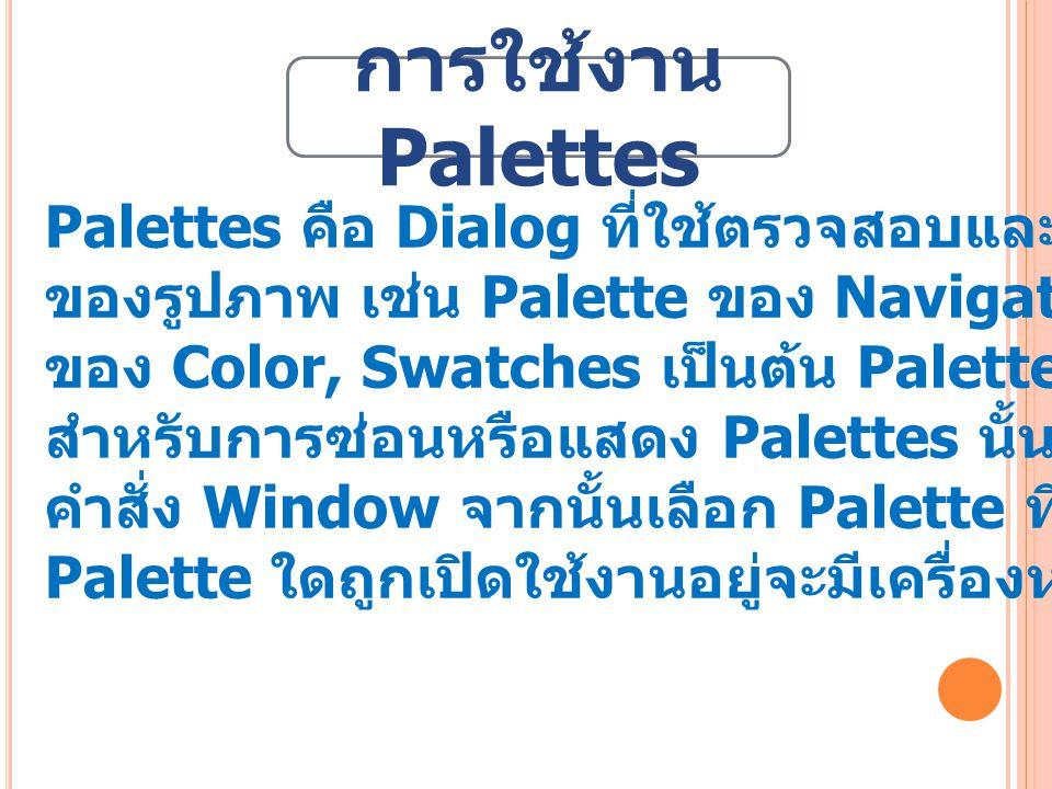 Palettes คือ Dialog ที่ใช้ตรวจสอบและกำหนดคุณสมบัติต่าง ๆ ของรูปภาพ เช่น Palette ของ Navigator และ Info, Palette ของ Color, Swatches เป็นต้น Palette ต่